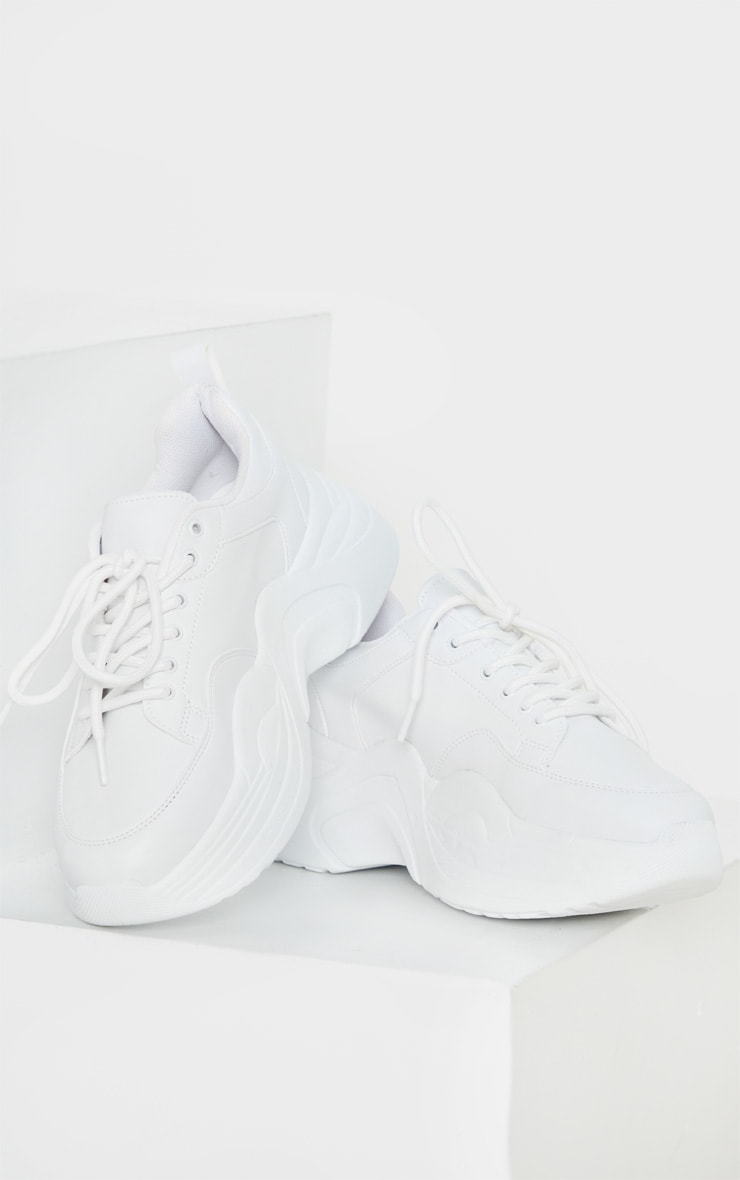 White Extreme Platform Sole Chunky Sneaker 3