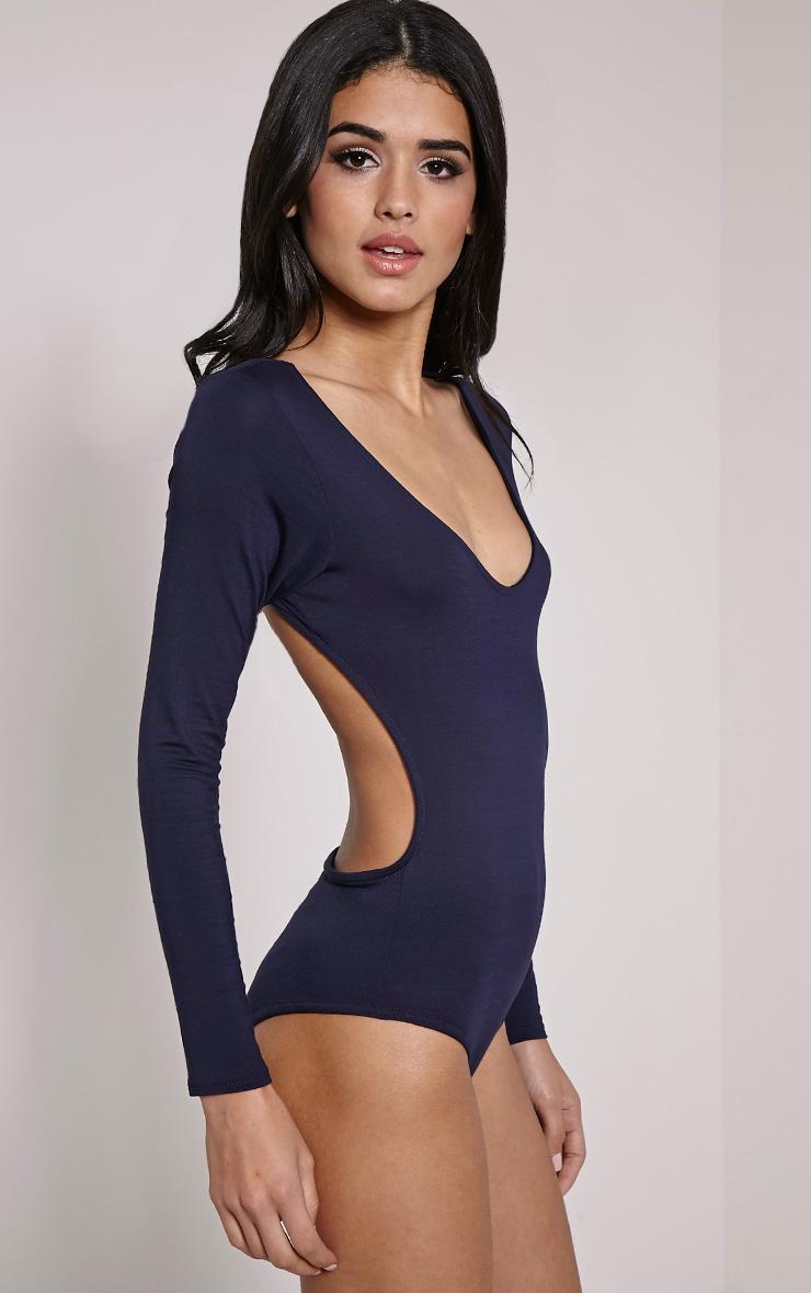 Basic Navy Backless Jersey Bodysuit 7