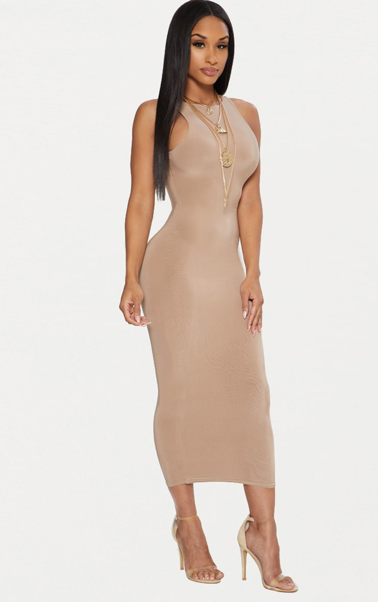 Taupe Second Skin Slinky Racer Neck Midaxi Dress 4