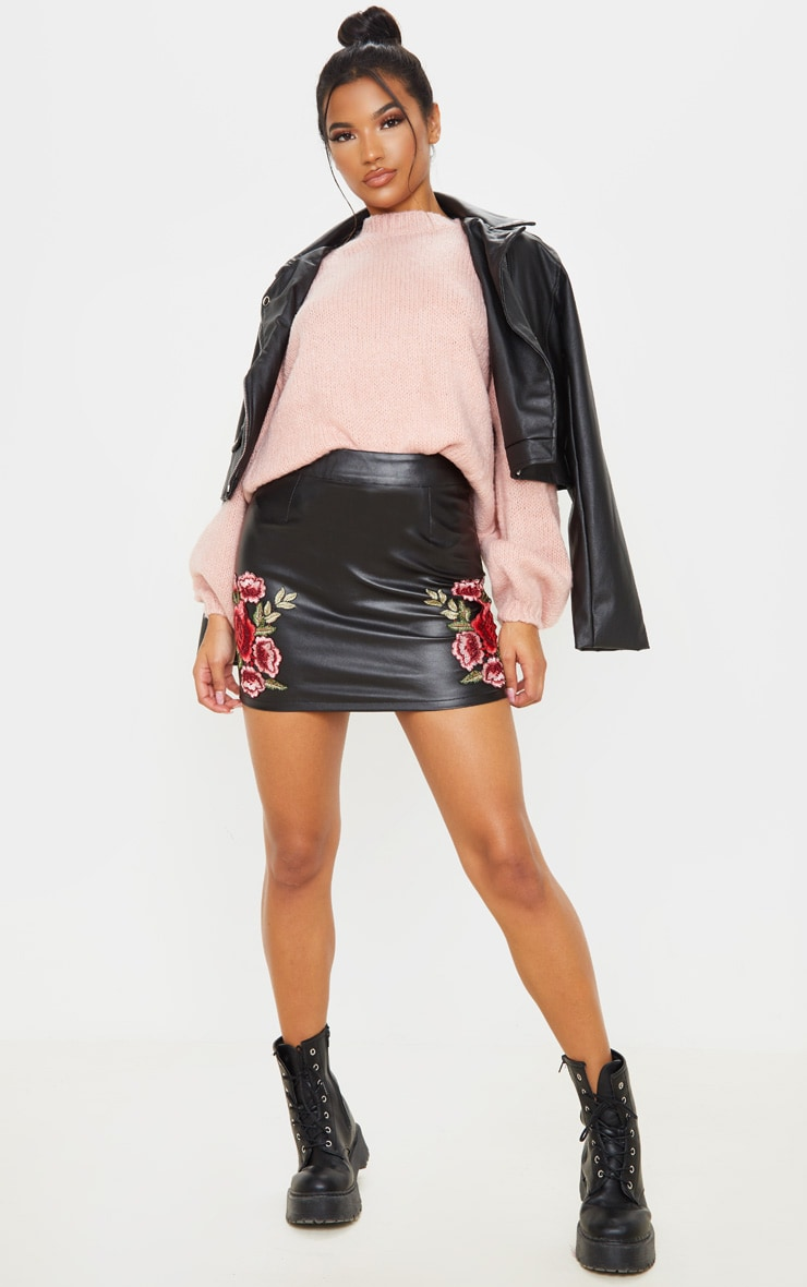 Black Faux Leather Embroidered Rose Mini Skirt 5