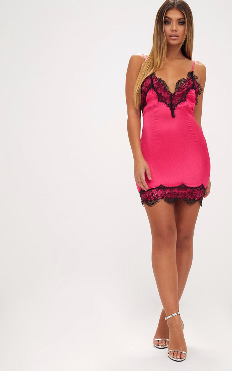 Fuchsia Satin Lace Trim Strappy Bodycon Dress 3
