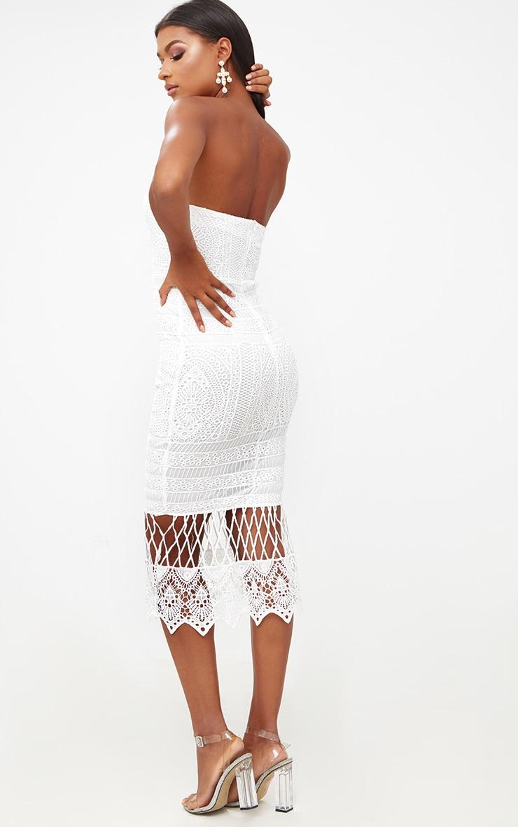 White Lace Bandeau Longline Midi Dress 2