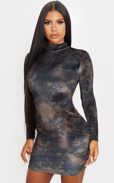 Brown Tie Dye Velvet High Neck Long Sleeve Bodycon Dress