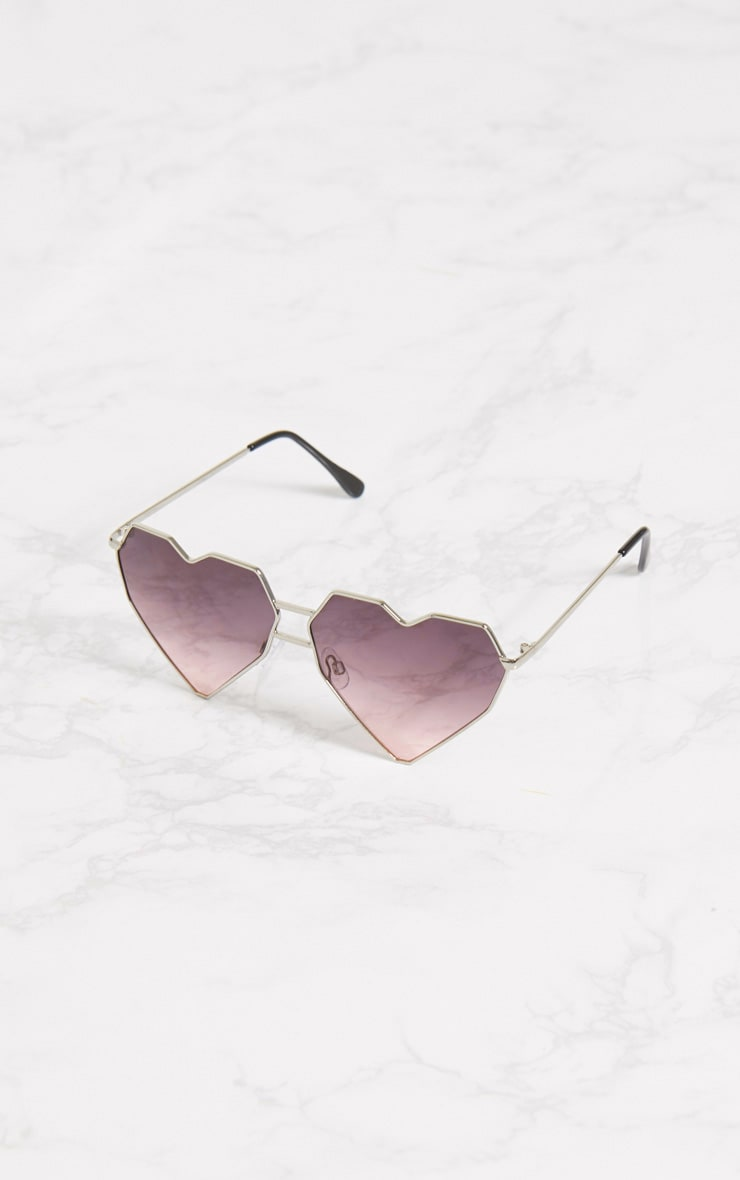 Pink Structured Heart Sunglasses 2