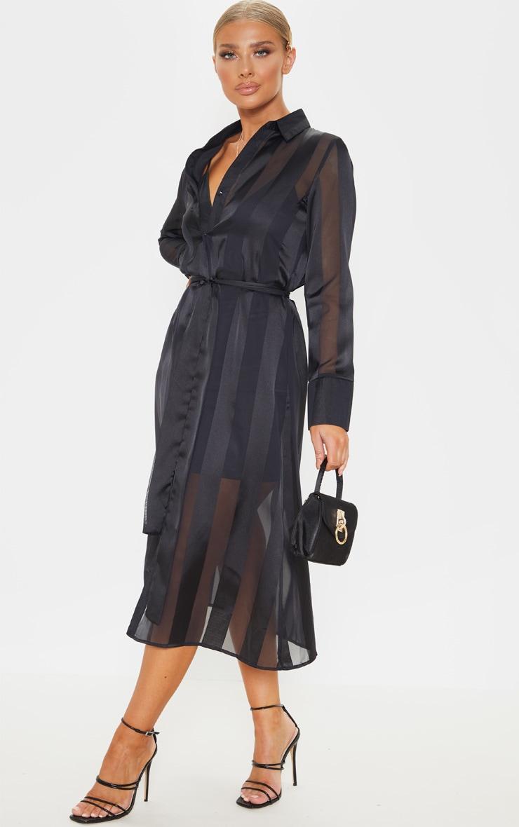 Black Satin Midi Shirt Dress 4