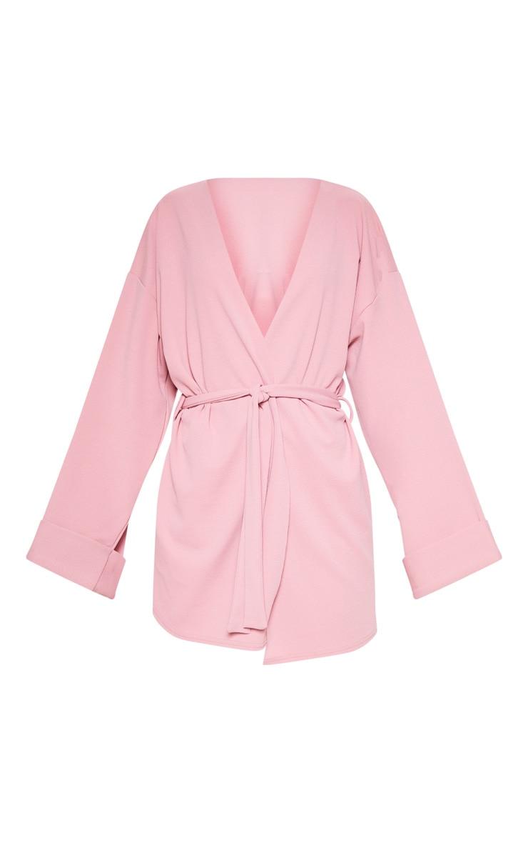 Pink Belted Oversized Sleeve Blazer 3