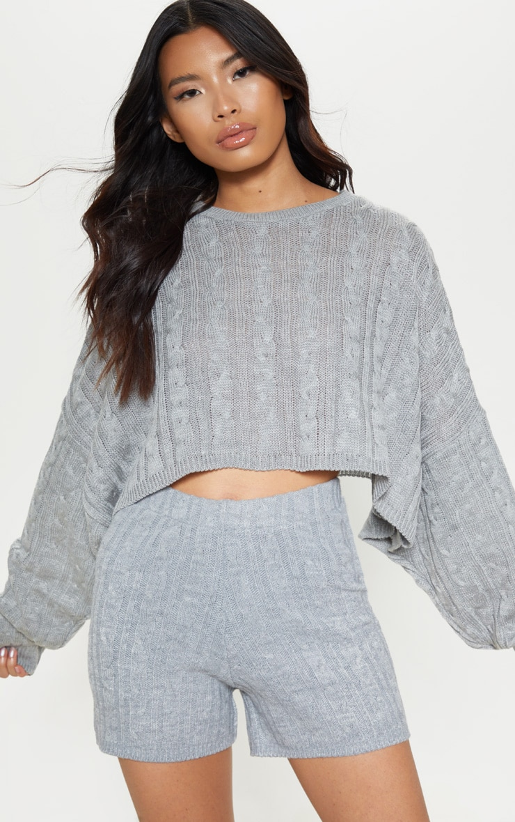 Grey Cable Cropped Knitted Jumper  1