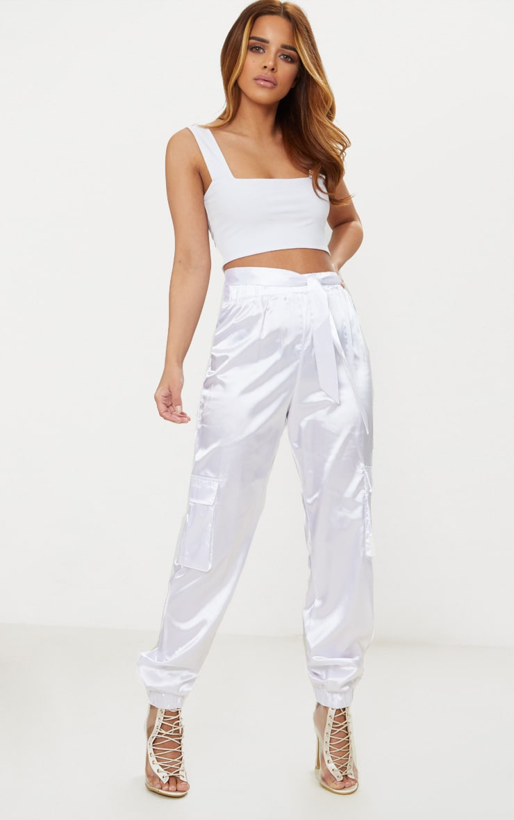 Petite White Slinky Square Neck Crop Top 4