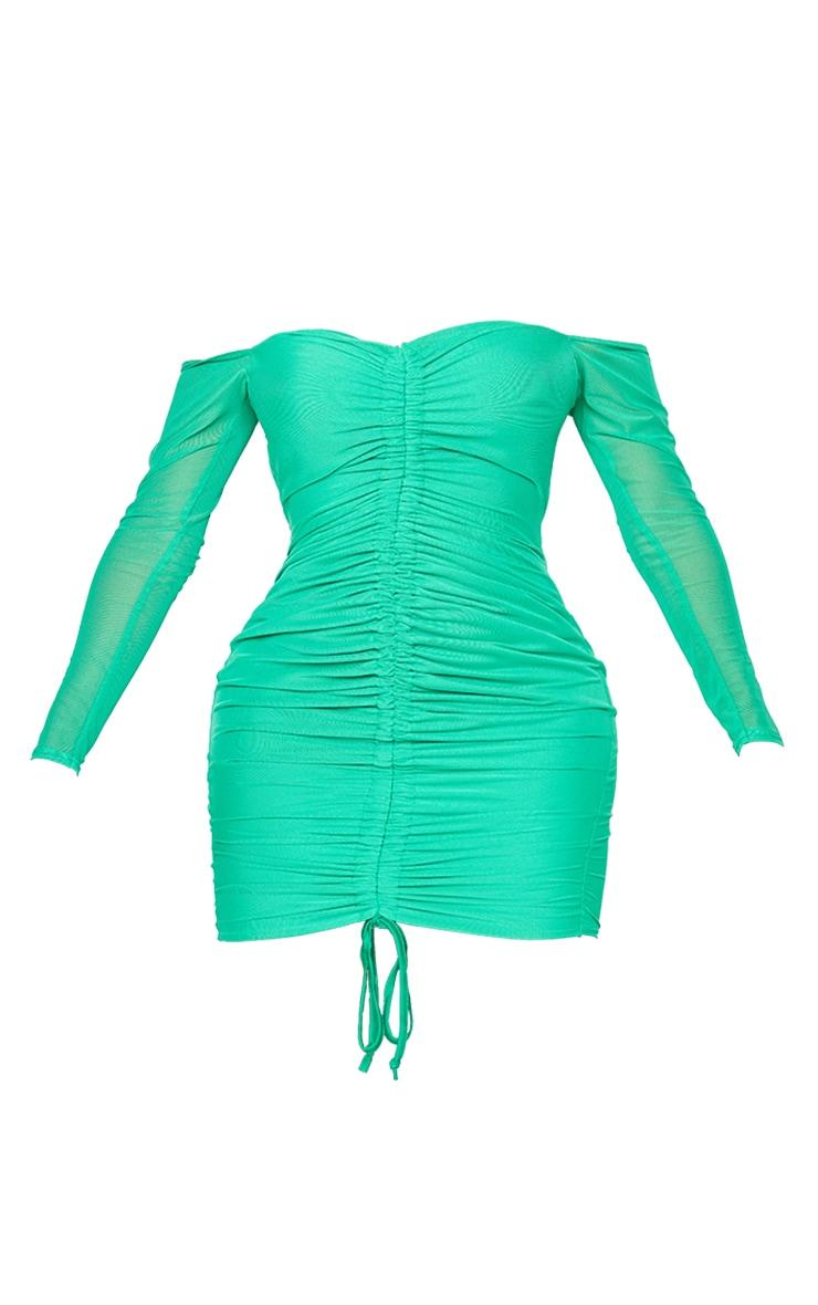 Shape Bright Green Mesh Ruched Bardot Bodycon Dress 5