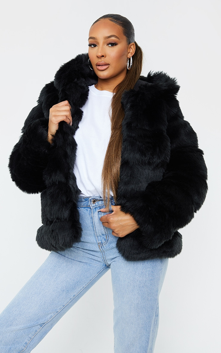 Black Premium Hooded Faux Fur Bubble Coat 1