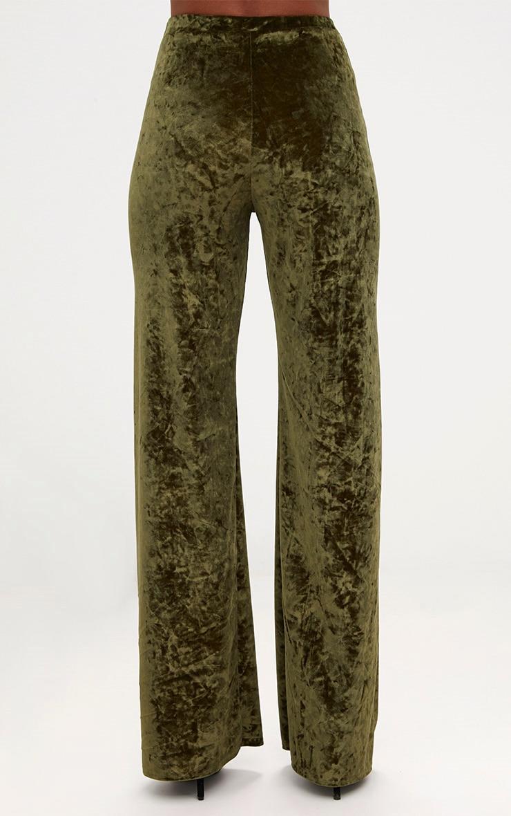 Khaki Crushed Velvet Wideleg Trousers 4