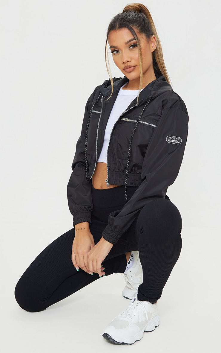 Black Nylon Shell Cropped Zip Front Jacket 3