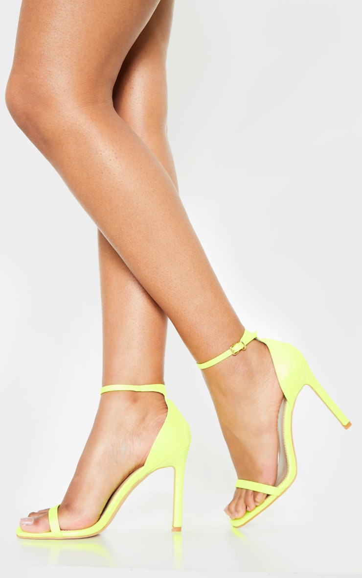 Sandales carrées à brides fines citron fluo 2