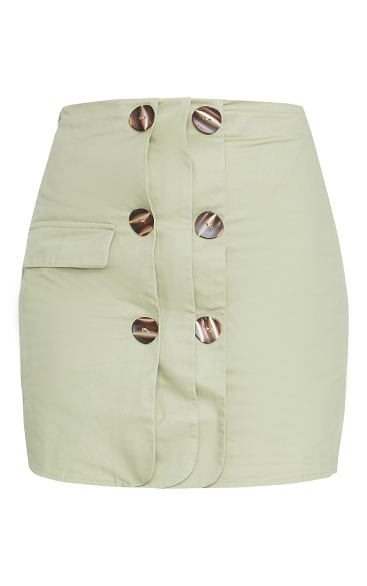 Sage Green Button Detail Cargo Mini Skirt 6