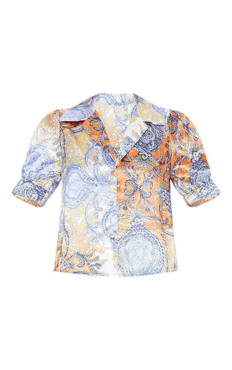 Multi Paisley Printed Satin Elasticated Short Sleeve Shirt 5