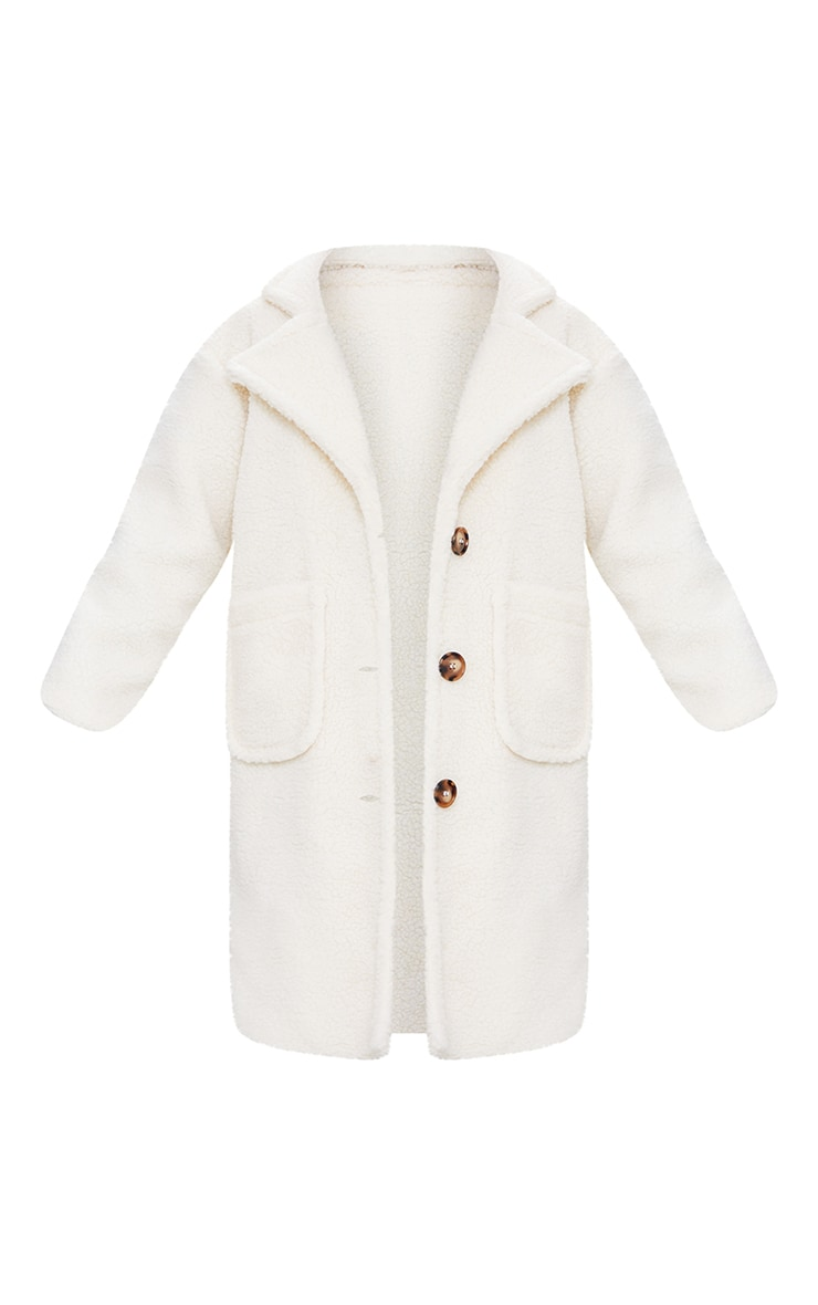 Cream Borg Longline Coat 5