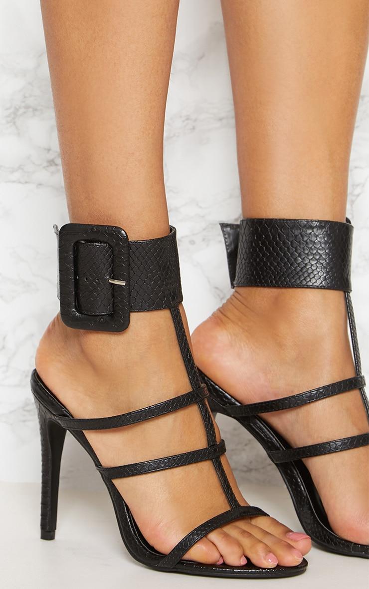 Black Cuff Detail Strappy Heeled Sandal 5