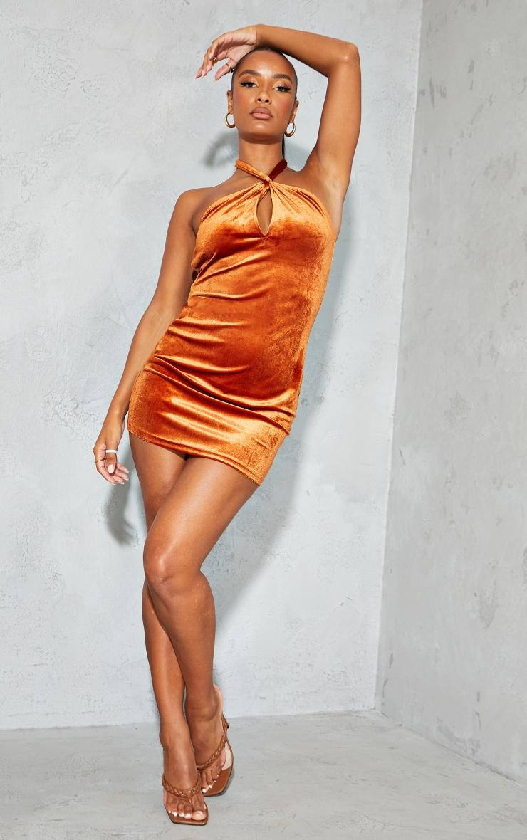 Rust Velvet Halterneck Knotted Bodycon Dress 1