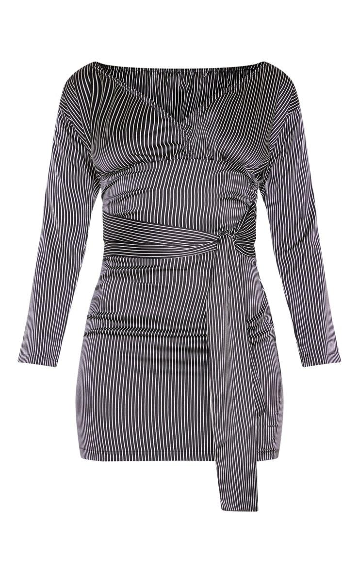 Black Stripe Bardot Ruched Wrap Bodycon Dress 3