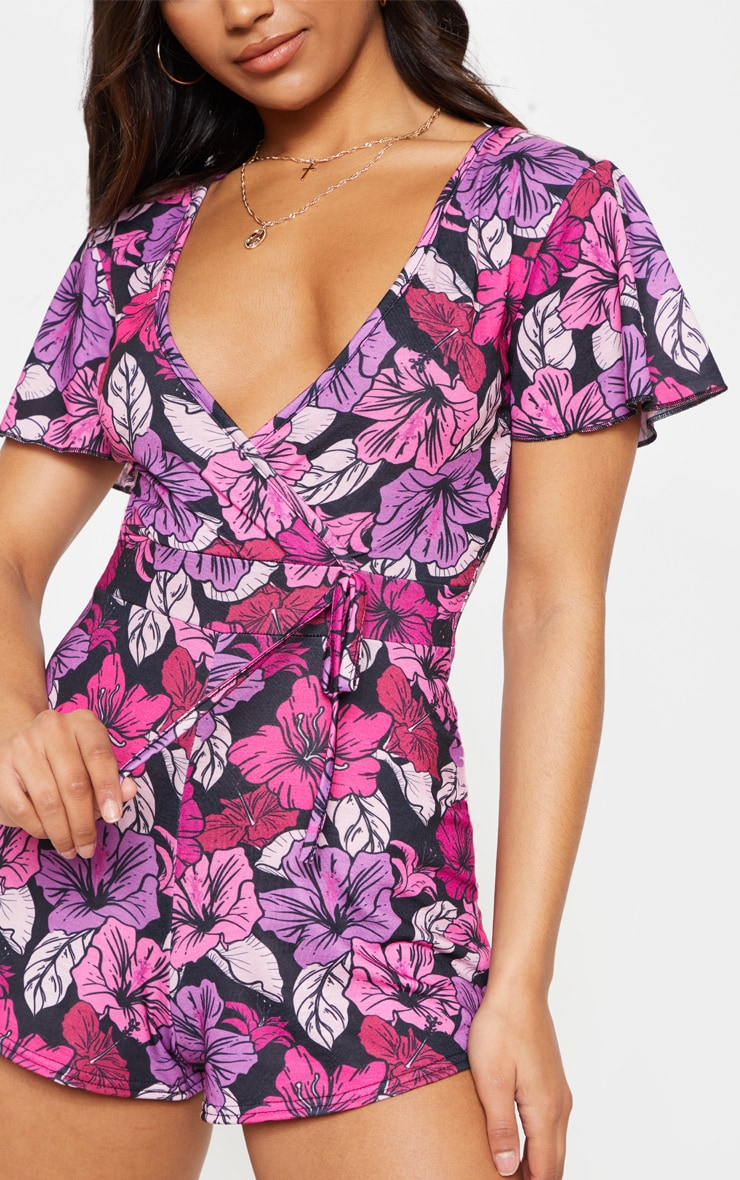 Pink Floral Print Short Sleeve Playsuit 5