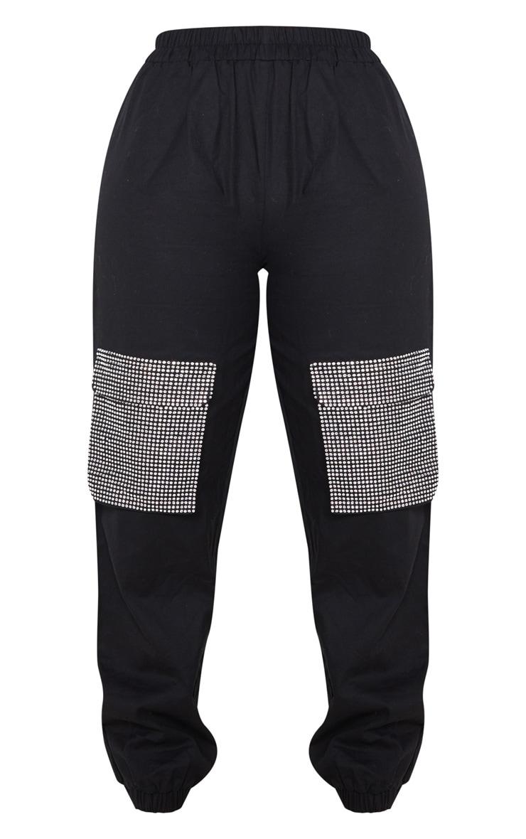 Black Diamante Pocket Detail Cargo Trousers 3