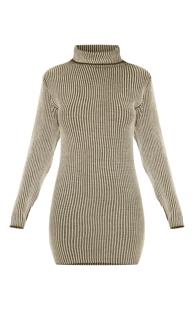 Khaki Two Tone Knitted Dress 3