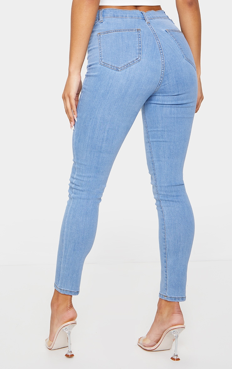 Light Blue Wash Cut Out Waist Disco Skinny Jeans 3