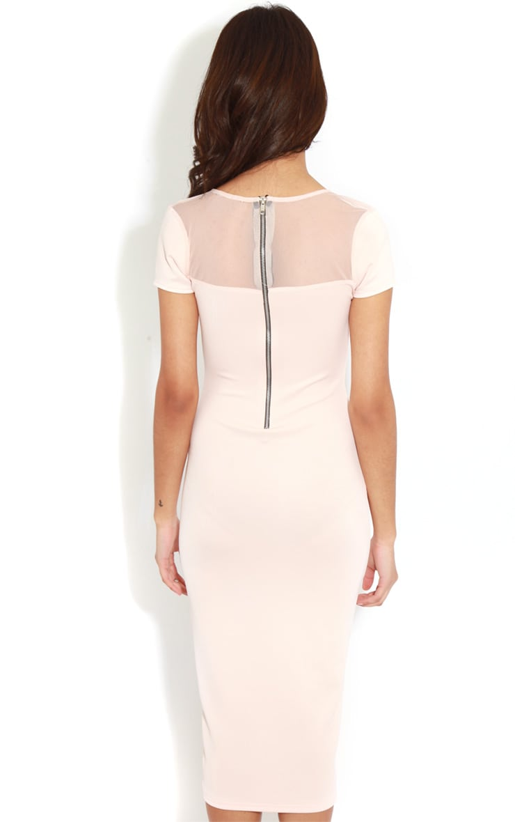 Whitney Pink Mesh Panel Midi Dress 2
