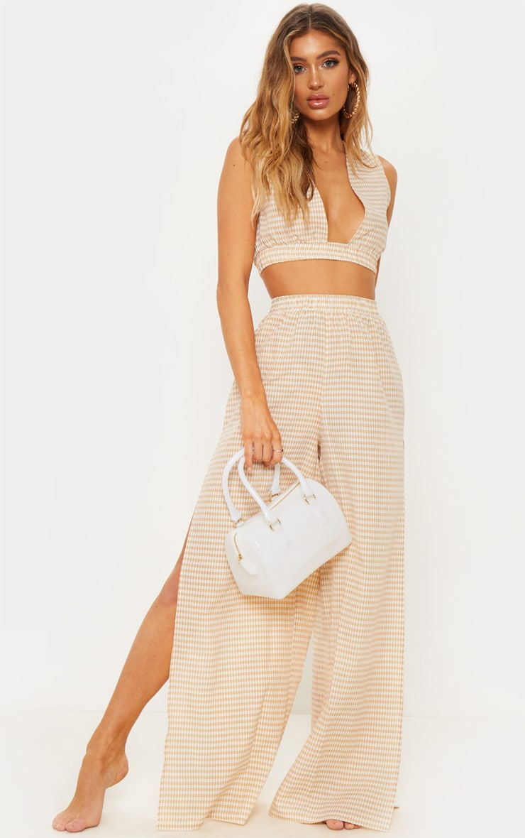 Nude Gingham Crop Beach Top 2