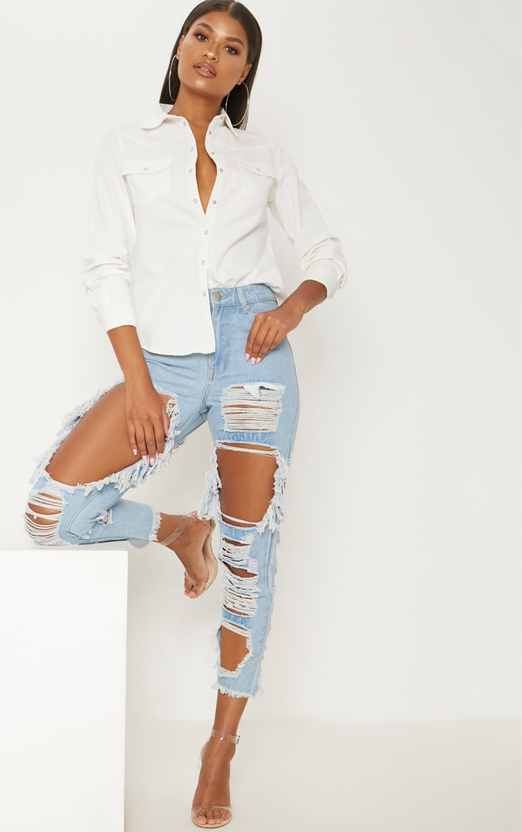 White Western Cropped Denim Shirt  4