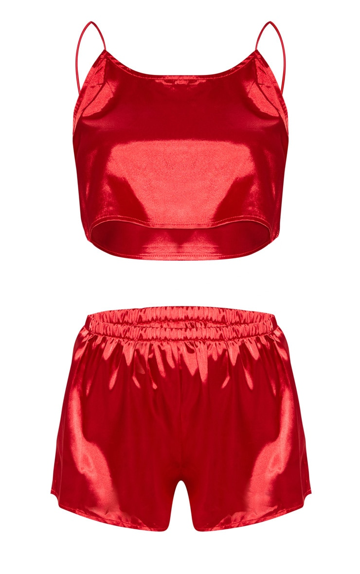 Issie Red Satin Pyjama Shorts Set 3