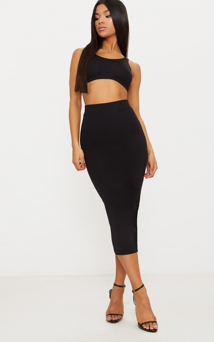 Black Second Skin Bodycon Midaxi Skirt