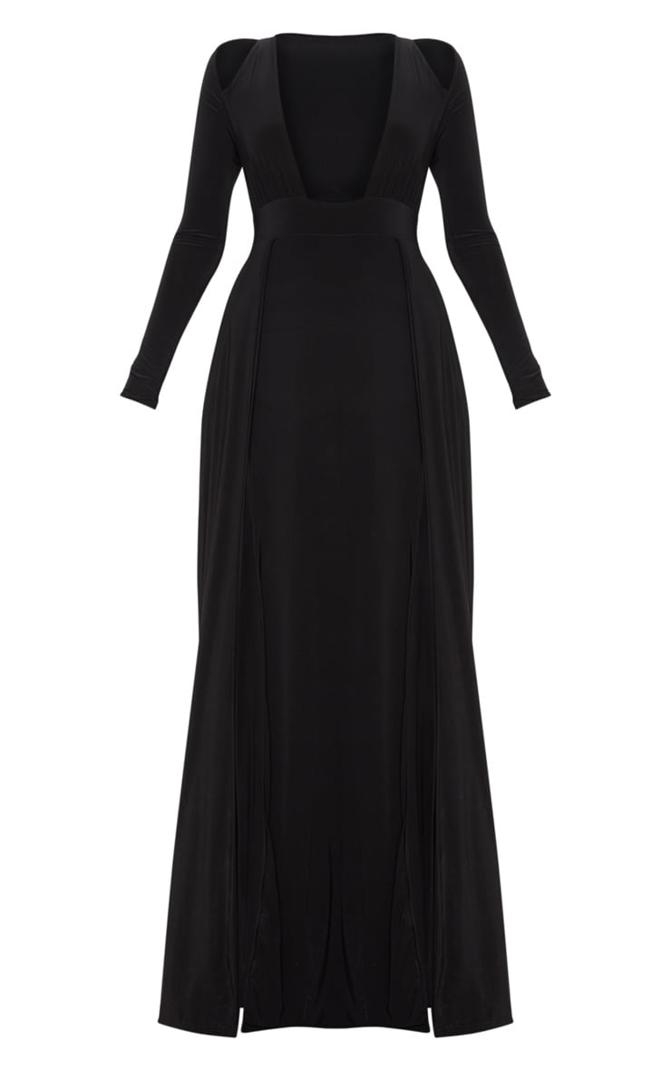 Black Plunge Extreme Split Leg Maxi Dress 3