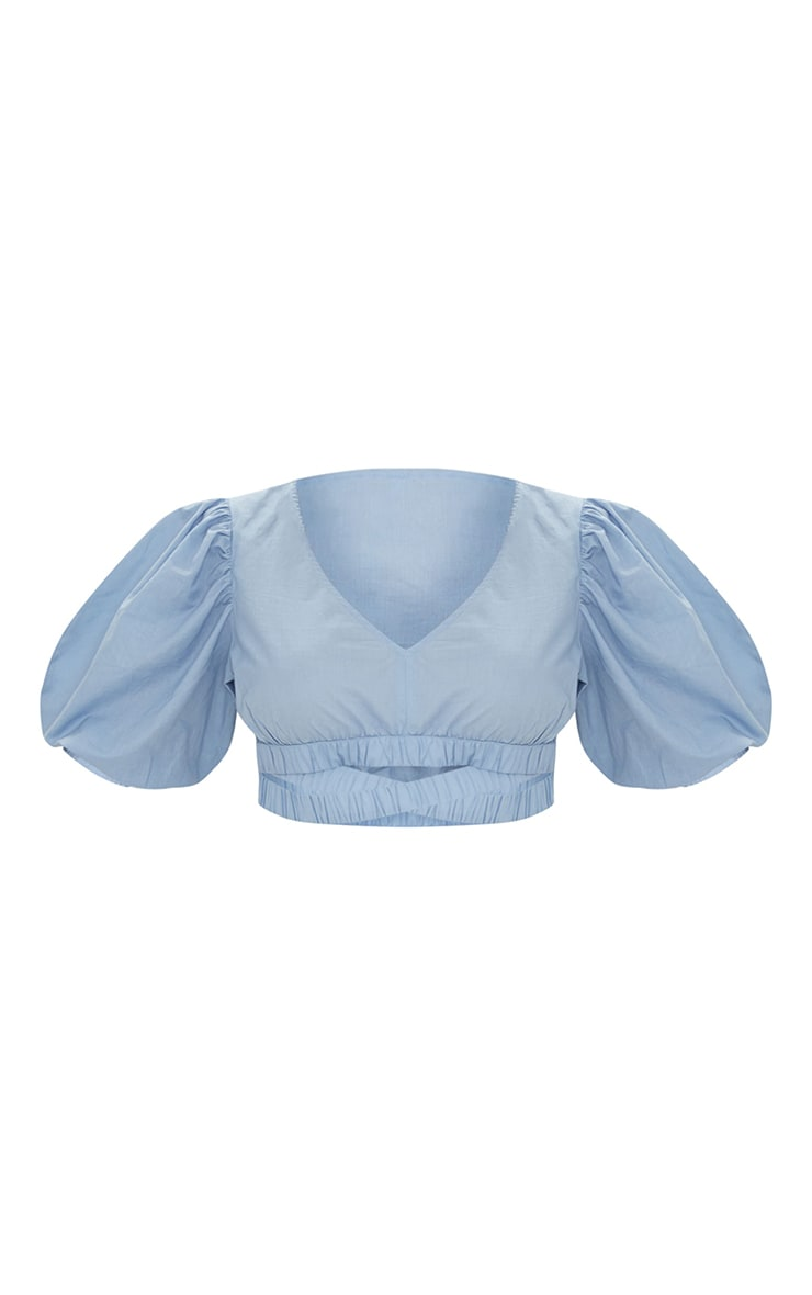 Blue Cotton Puff Sleeve Cut Out Elasticated Short Sleeve Crop Top 5