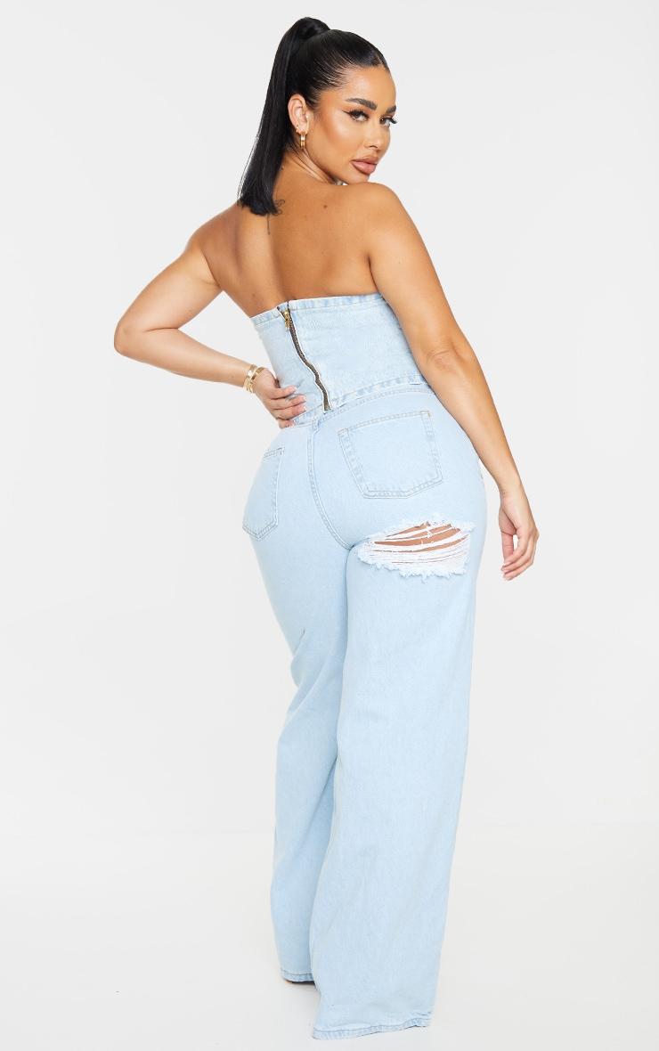 PRETTYLITTLETHING Shape Light Blue Wash Bum Rip Wide Leg Jeans 1