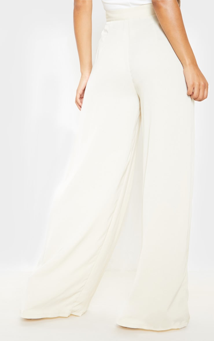 Cream Woven Pleat Detail Wide Leg Pants 4