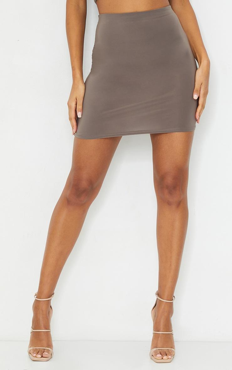 Mocha Slinky Bodycon Mini Skirt 2