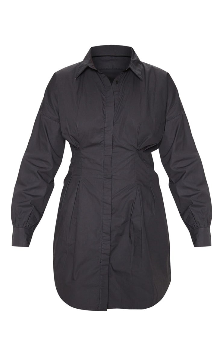 Black Fitted Waist Shirt Dress 3