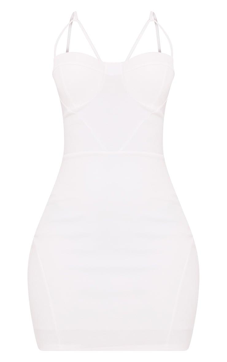 Carrie robe moulante blanche à empiècements en crêpe 3