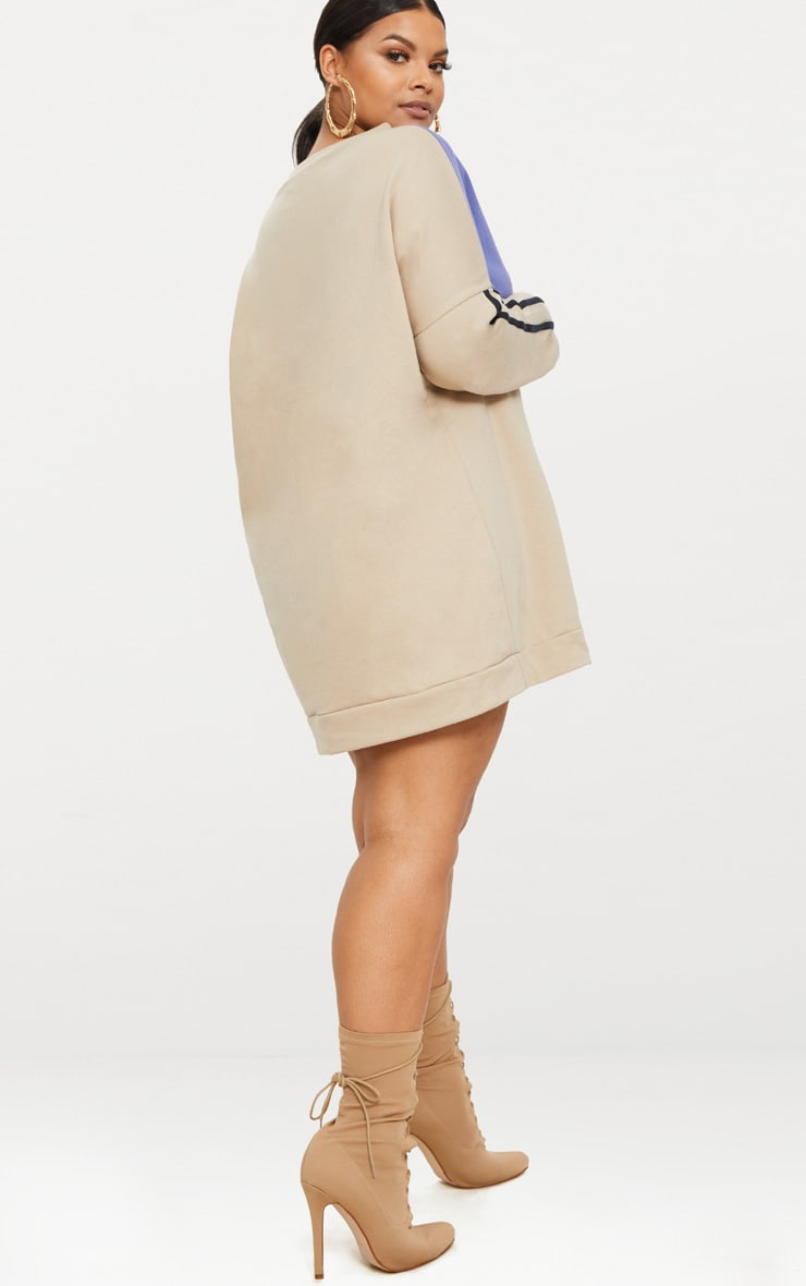 Plus Taupe Chevron Panel Oversized Sweater Dress 2