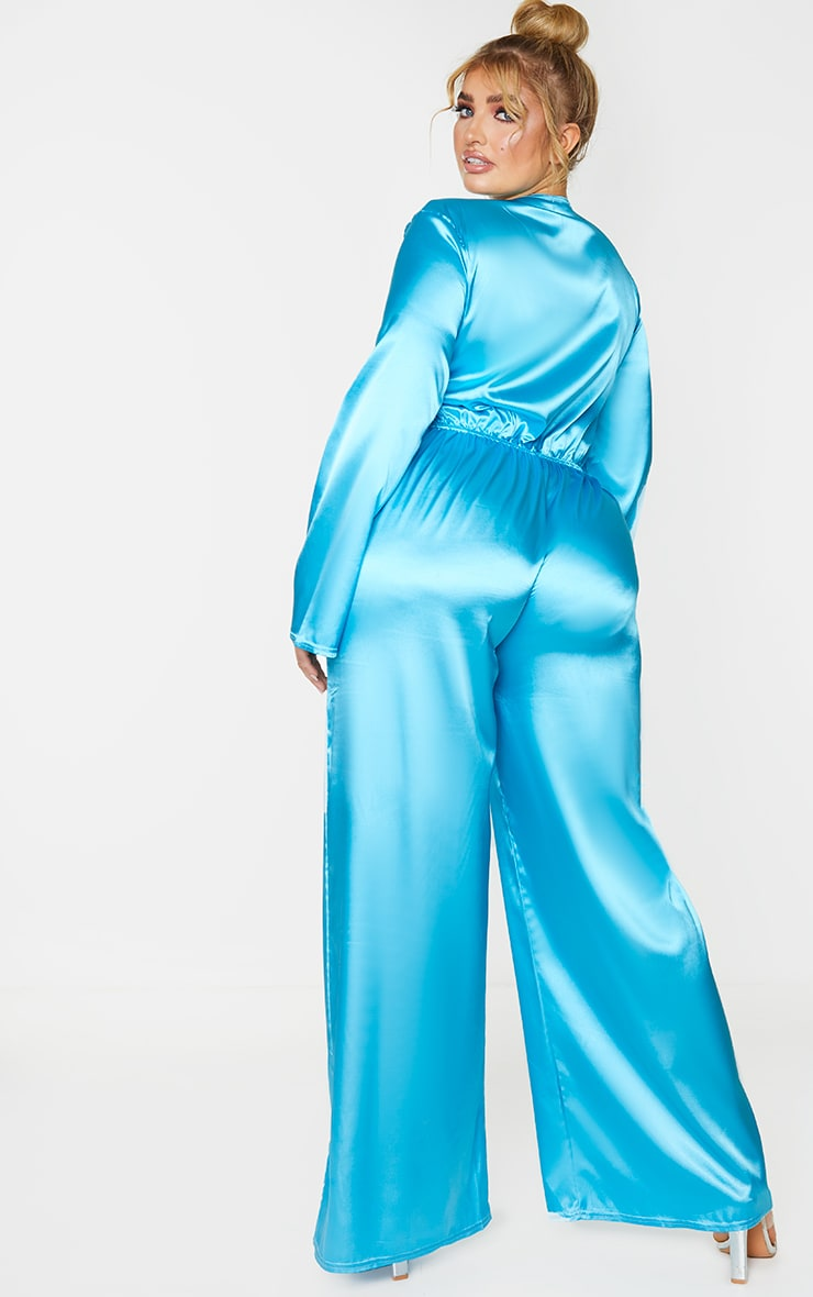 Plus Aqua Satin Tie Front Wide Leg Jumpsuit 2