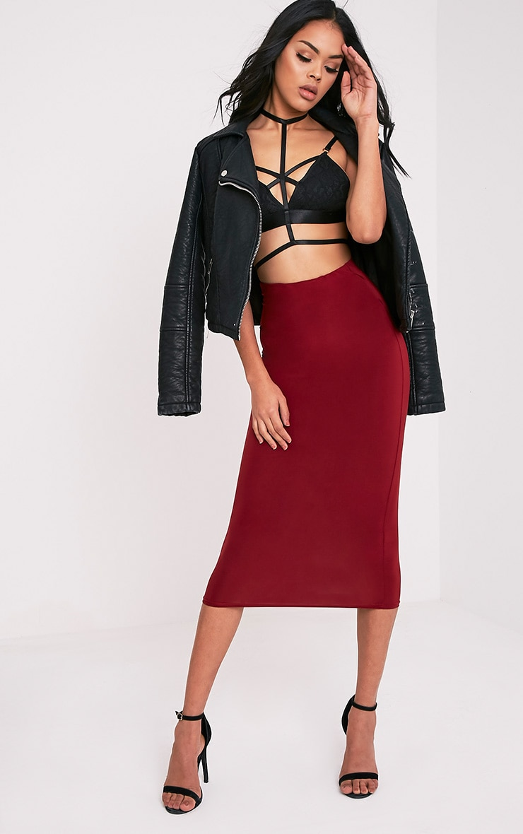 Steffany Burgundy Slinky Long Line Midi Skirt 1