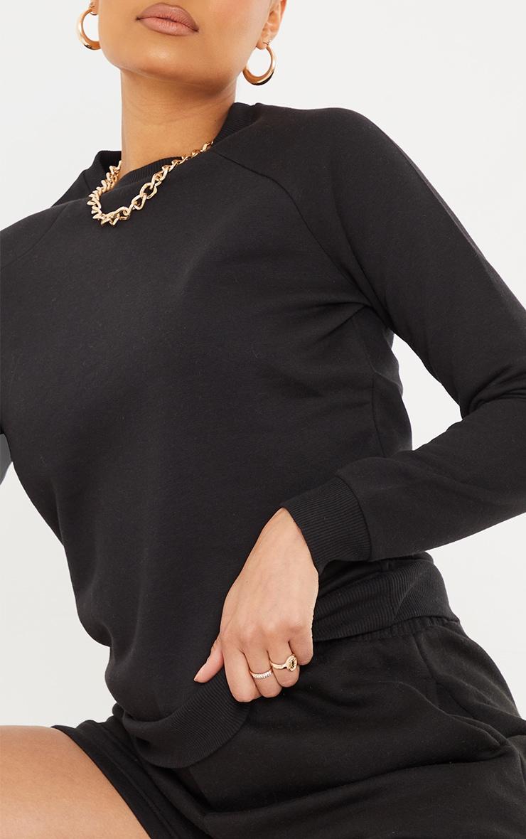 Recycled Basic Black Slim Sweatshirt 4