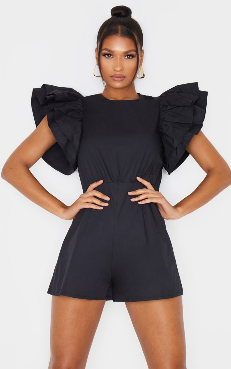 Black Frill Sleeve Woven Playsuit 1