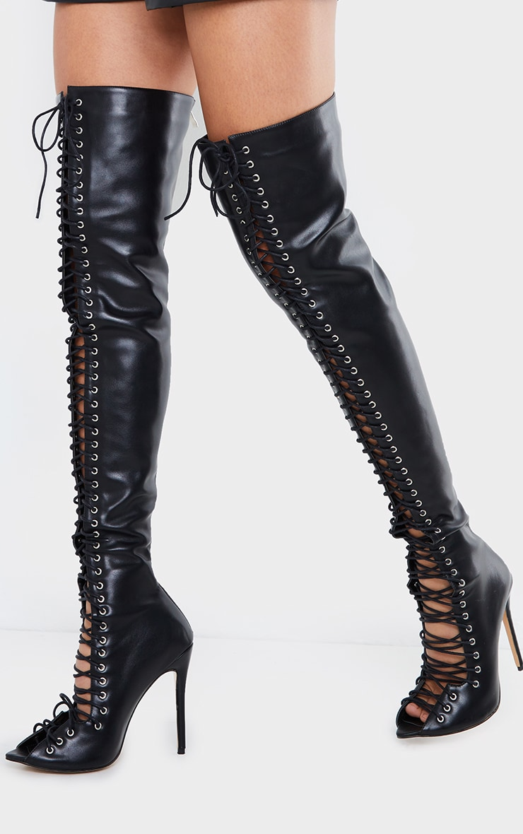 Black PU Extreme Lace Up Thigh High Heeled Boots 2