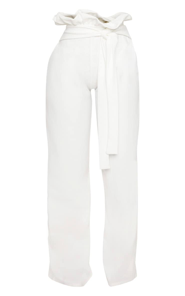 Shape White High Waist Paperbag Wide Leg Trousers 3
