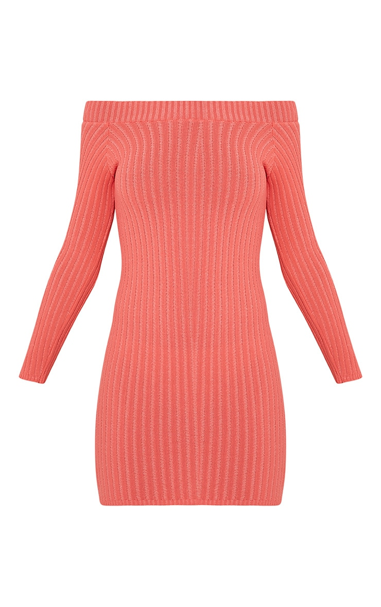 Julia Coral Bardot Mini Jumper Dress 3