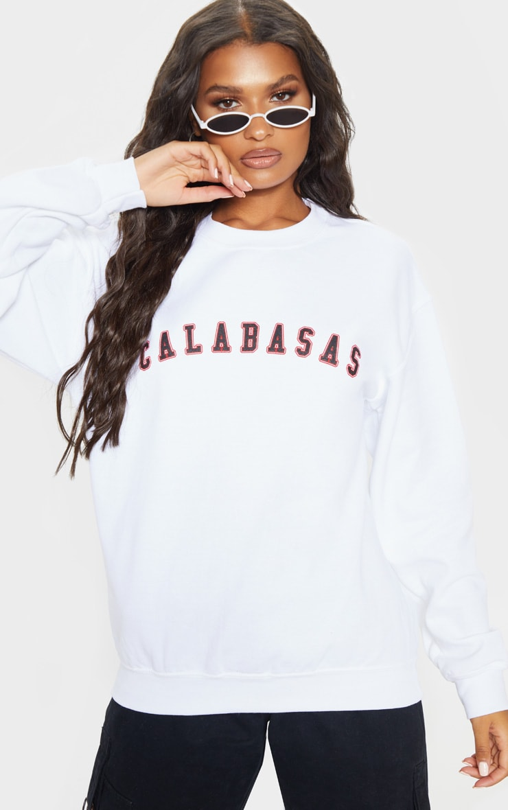 White Calabasas Slogan Sweater 1