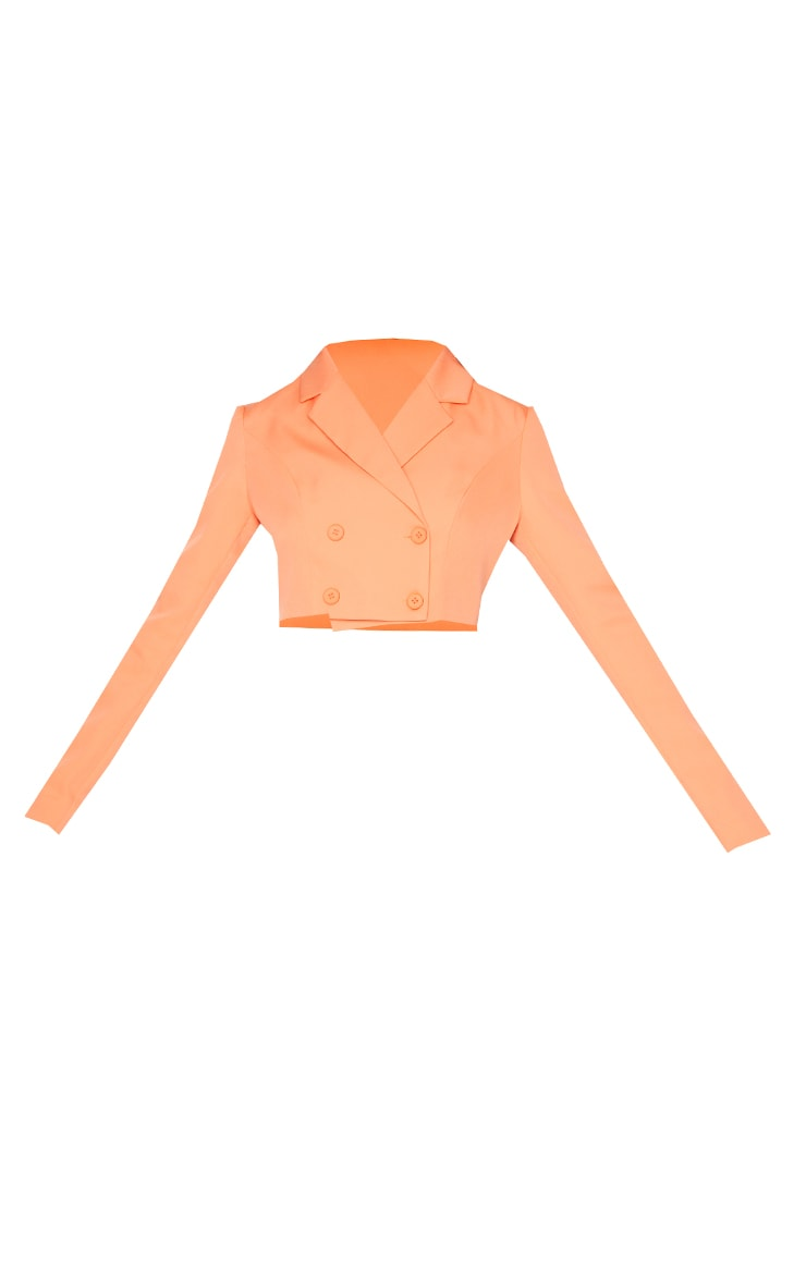 Orange  Double Breasted Cropped Blazer 5