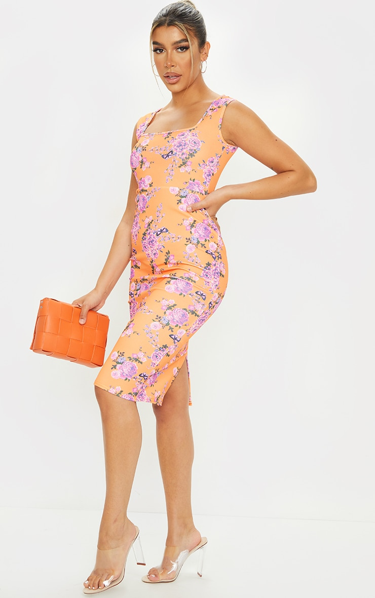 Coral Floral Square Neck Midi Dress 3